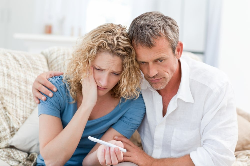 Image of emotional infertile woman and man