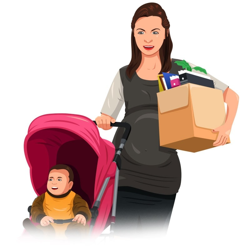 Illustration of pregnant woman on maternity leave